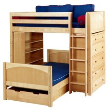 L-shaped / Parallel Bunk with Straight Ladder, 5 Drawer, Bookcase and Trundle