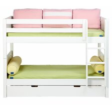 Low Bunk Bed with Straight Ladder and Trundle