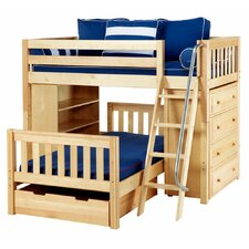 <strong>Wildon Home ®</strong> L-shaped / Parallel Bunk with Angle Ladder, 4 Drawer Chest, Bookcase and Storage Drawer