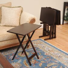 Bay Shore Curve Edge Tray Table Set with Stand (Set of 4)