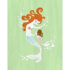 Mermaid and Baby Girl Paper Print