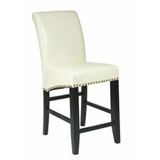 "Bonded Leather 24"" Parsons Barstool with Nail Head Accents"