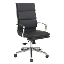High Back Eco Leather Chair with Locking Tilt Control and Arms and Base