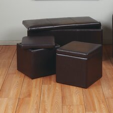 3 Piece Eco Leather Ottoman Set