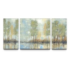 Through the Mist Textured Triptych 3 Piece Painting Print on Canvas Set