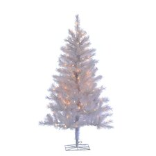 4' White Colorado Spruce Christmas Tree with 150 Clear Lights with Stand
