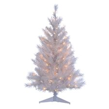 6' White Colorado Spruce Christmas Tree with 100 Clear Lights with Stand