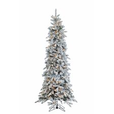 7.5' Narrow Pencil Pine Christmas Tree with 450 Clear Lights with Stand