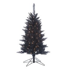 4' Black Tiffany Christmas Tree with 150 Clear Lights with Tinsel and Stand