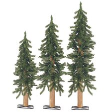 3 Piece Alpine Christmas Tree Set with Clear Lights and Stands
