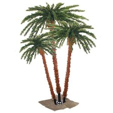 Pre-Lit Palm Tree 4' Green Tropical Artificial Christmas Tree with 650 Pre-Lit Clear Lights