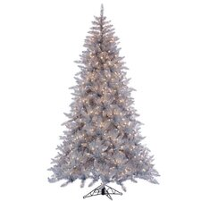 7.5' Silver Ashley Christmas Tree with 700 Clear Lights with Stand