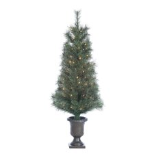 4' Green Hard Needle Western Cashmere Christmas Tree with 100 Clear Lights with Pot and Stand