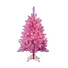 7.5' Pink Lightly Keystone Pine Christmas Tree with 200 Clear Lights with Flocked and Stand