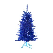 4' Blue Tiffany Christmas Tree with 150 Blue Lights with Tinsel and Stand