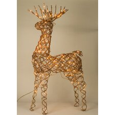 Animated Grapevine Standing Deer Christmas Decoration