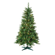 4.5' Green Colorado Spruce Christmas Tree with 100 Multi Lights with Stand