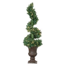 4' Green Spiral Topiary Christmas Tree with 100 Clear Lights with Pot and Stand