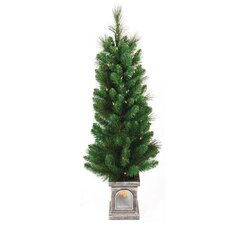 4' Green Concord Pine Christmas Tree with 70 Clear Twinkling Lights with Window Pot and Stand