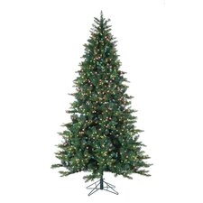 7.5' Green Longwood Pine Christmas Tree with 600 Multi Lights with Stand