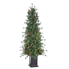 <strong>Sterling Inc.</strong> 6' Green Hard Needle Georgia Pine Christmas Tree with 300 Clear Lights with Pot and Stand