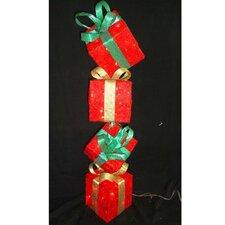 Sisal Gift Box Tower Christmas Decoration