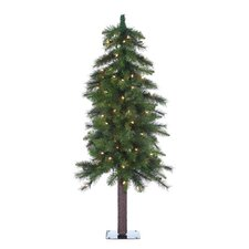 3' Green Hard Needle Ozark Alpine Christmas Tree with 50 Clear Lights and Stand