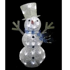 Glittering Snowman with Top Hat and Scarf Christmas Decoration