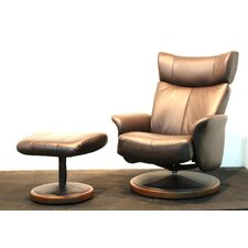 Manadalay Leather Recliner and Ottoman