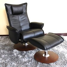 Valencia Leather Recliner and Ottoman