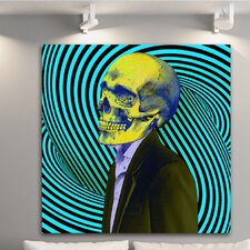 """Daydreaming Skull Blue"" Canvas Art"