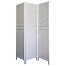3 Panel Room with Shutter Door Divider in White