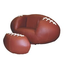 Football Kid's Sports Novlety Chair and Ottoman Set