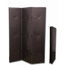 3-Panel PU Leather Room Divider in Black