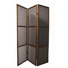 3-Panel Rattan Room Divider in Walnut