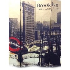 "71"" x 64"" Brooklyn Then and Now City 4 Panel Room Divider"
