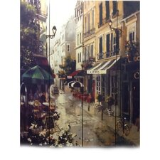 """71"""" x 64"""" Victorian Town 4 Panel Room Divider"""