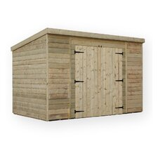 Pent Shed with 2 Center Doors