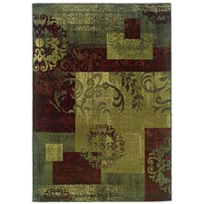 Sullivan Green / Red Abstract Rug
