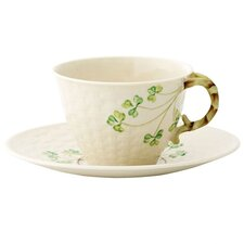 <strong>Belleek</strong> Shamrock Cup and Saucer Set