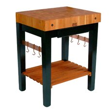 Rouge et Noir Pro Prep Table with Butcher Block Top