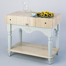 American Heritage Calais Prep Table with Butcher Block Top