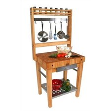 Cucina Americana Premo Prep Table with Butcher Block Top