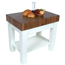American Heritage Homestead Prep Table with Butcher Block Top