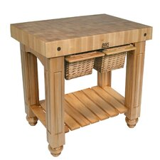 American Heritage Gathering Block II Prep Table with Butcher Block Top