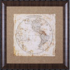 Antique Map Western Hemisphere by Mauro Cardoza Framed Graphic Art