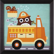 Owl in Firetruck and Squirrel Wall Art