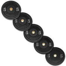 260 lbs Olympic Rubber Bumper Plate Set in Black