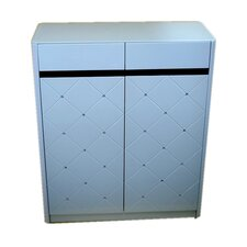 Diamond Shoe Cabinet in White