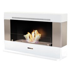 Vio Flame Rectangular Convection Ethanol Fireplace in White